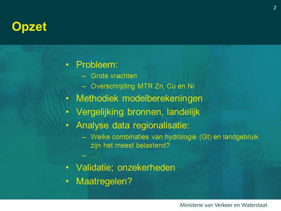 2 Opzet Probleem: –Grote vrachten –Overschrijding MTR Zn, Cu en Ni Methodiek modelberekeningen Vergelijking bronnen, landelijk Analyse data regionalis