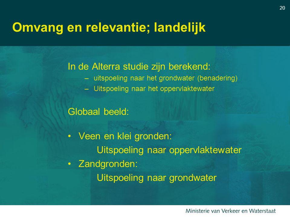 20 Omvang en relevantie; landelijk In de Alterra studie zijn berekend: –uitspoeling naar het grondwater (benadering) –Uitspoeling naar het oppervlakte