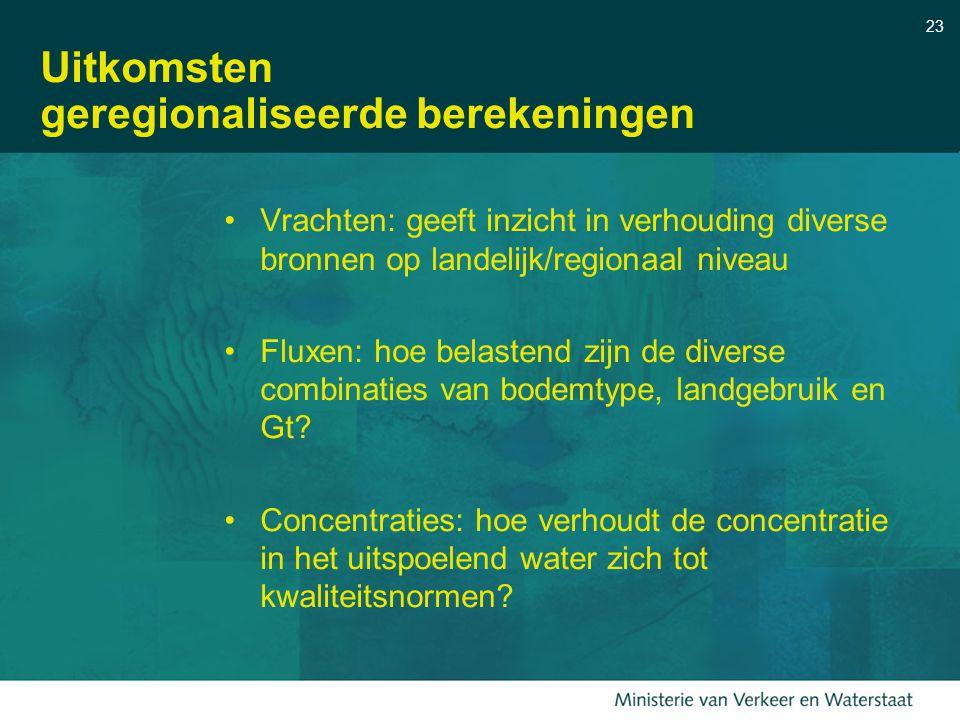 23 Uitkomsten geregionaliseerde berekeningen Vrachten: geeft inzicht in verhouding diverse bronnen op landelijk/regionaal niveau Fluxen: hoe belastend