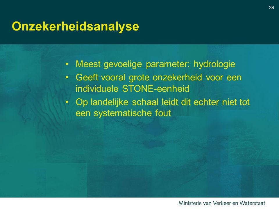 34 Onzekerheidsanalyse Meest gevoelige parameter: hydrologie Geeft vooral grote onzekerheid voor een individuele STONE-eenheid Op landelijke schaal le