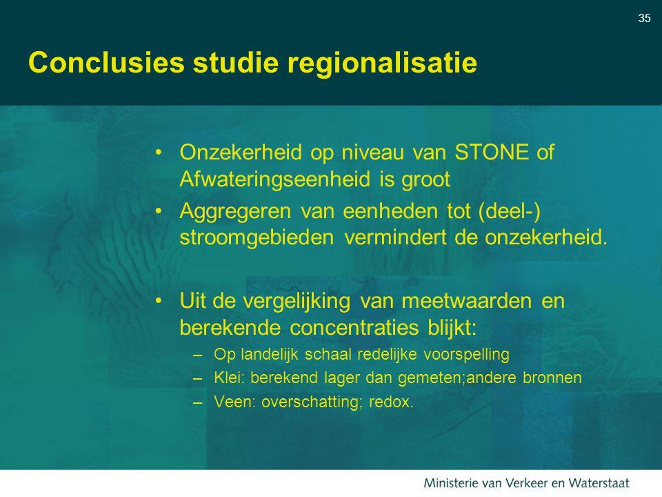 35 Conclusies studie regionalisatie Onzekerheid op niveau van STONE of Afwateringseenheid is groot Aggregeren van eenheden tot (deel-) stroomgebieden