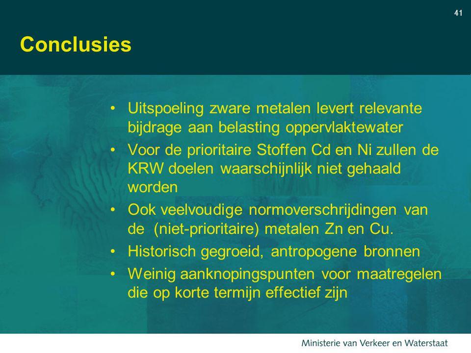 41 Conclusies Uitspoeling zware metalen levert relevante bijdrage aan belasting oppervlaktewater Voor de prioritaire Stoffen Cd en Ni zullen de KRW do