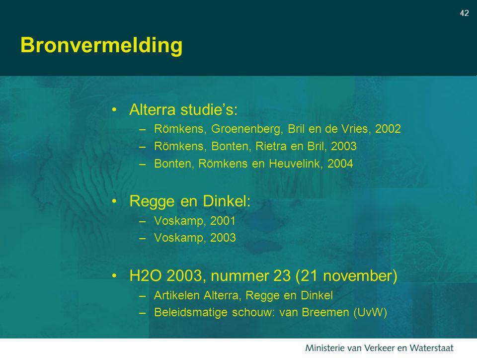 42 Bronvermelding Alterra studie's: –Römkens, Groenenberg, Bril en de Vries, 2002 –Römkens, Bonten, Rietra en Bril, 2003 –Bonten, Römkens en Heuvelink