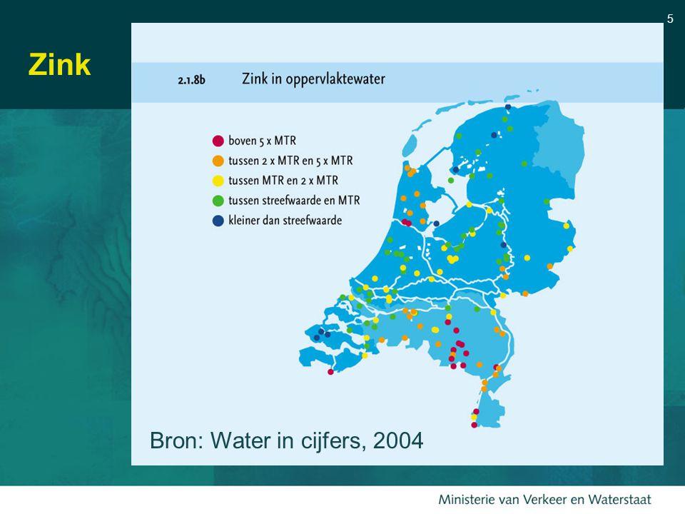 5 Zink Bron: Water in cijfers, 2004