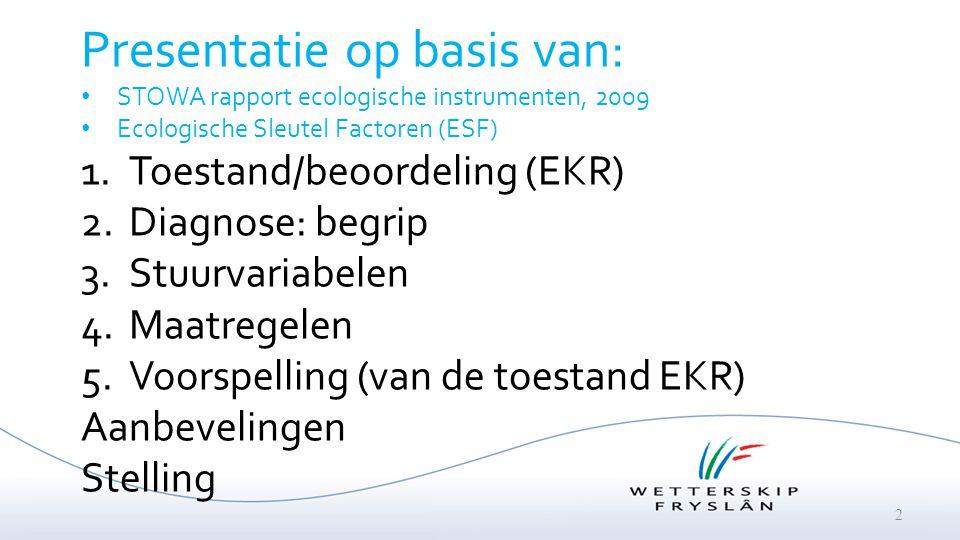 2 Presentatie op basis van: STOWA rapport ecologische instrumenten, 2009 Ecologische Sleutel Factoren (ESF) 1.Toestand/beoordeling (EKR) 2.Diagnose: b