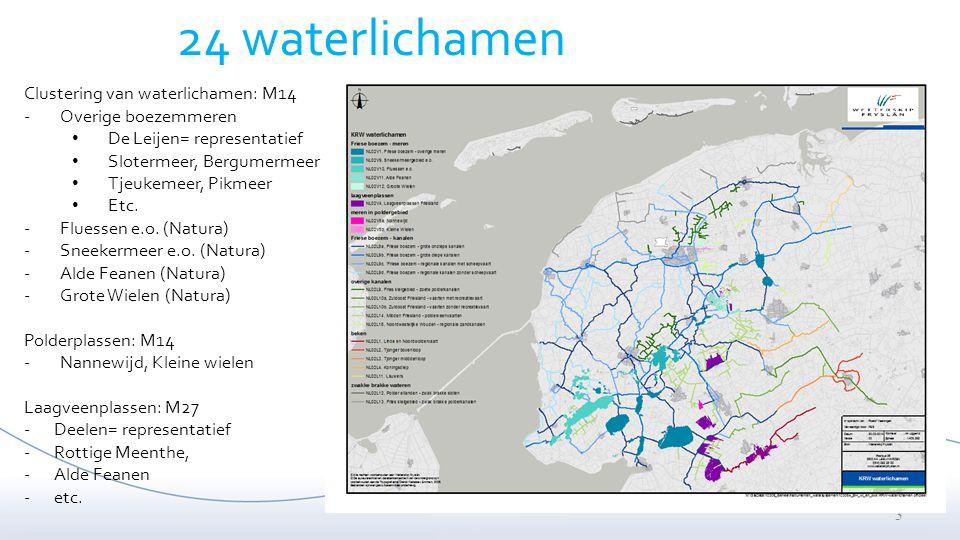 3 Clustering van waterlichamen: M14 -Overige boezemmeren De Leijen= representatief Slotermeer, Bergumermeer Tjeukemeer, Pikmeer Etc. -Fluessen e.o. (N