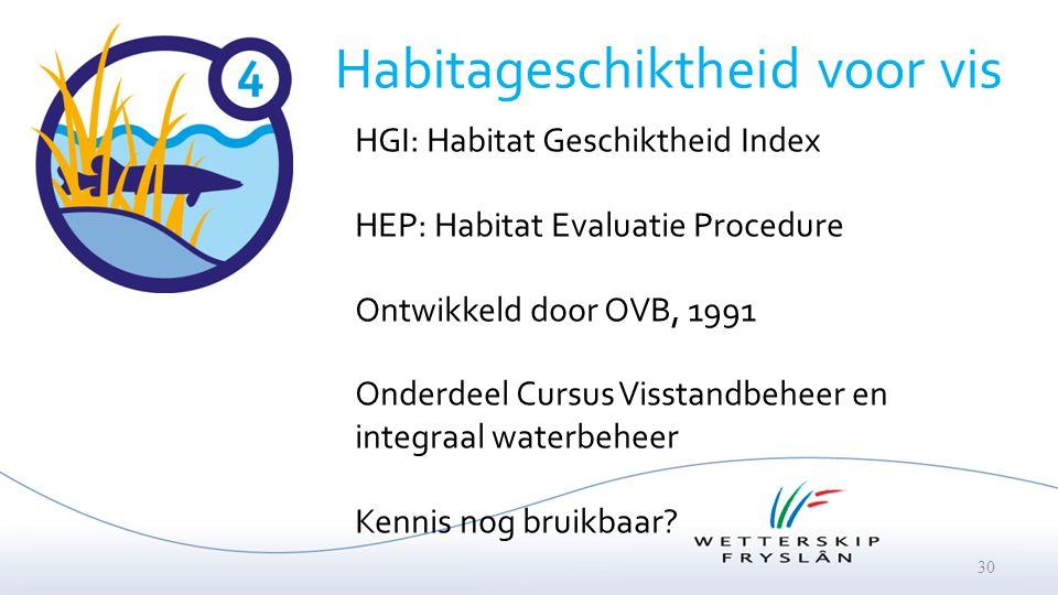 30 HGI: Habitat Geschiktheid Index HEP: Habitat Evaluatie Procedure Ontwikkeld door OVB, 1991 Onderdeel Cursus Visstandbeheer en integraal waterbeheer