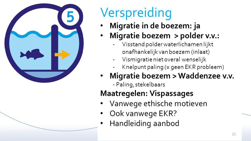 Verspreiding Migratie in de boezem: ja Migratie boezem > polder v.v.: -Visstand polder waterlichamen lijkt onafhankelijk van boezem (inlaat) -Vismigra