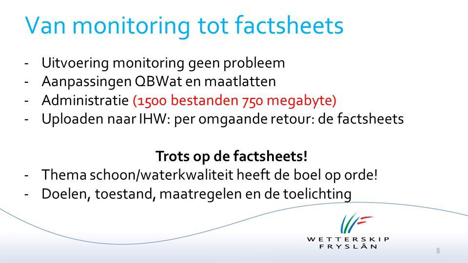 8 Van monitoring tot factsheets -Uitvoering monitoring geen probleem -Aanpassingen QBWat en maatlatten -Administratie (1500 bestanden 750 megabyte) -U
