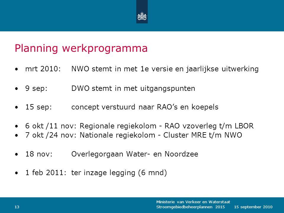 Ministerie van Verkeer en Waterstaat Stroomgebiedbeheerplannen 20151315 september 2010 Planning werkprogramma mrt 2010: NWO stemt in met 1e versie en