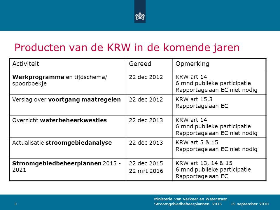 Ministerie van Verkeer en Waterstaat Stroomgebiedbeheerplannen 2015315 september 2010 Producten van de KRW in de komende jaren ActiviteitGereedOpmerki