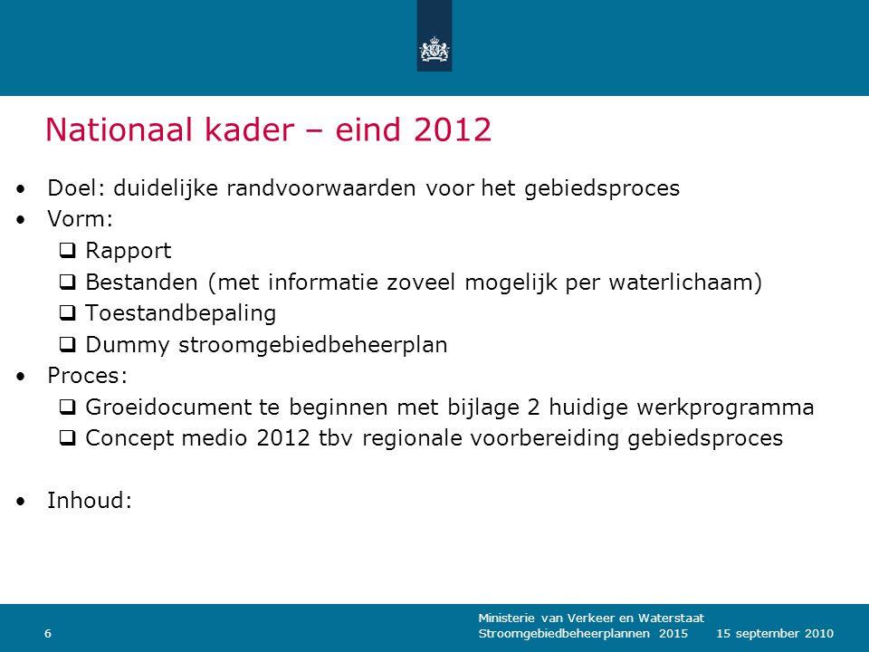 Ministerie van Verkeer en Waterstaat Stroomgebiedbeheerplannen 2015615 september 2010 Nationaal kader – eind 2012 Doel: duidelijke randvoorwaarden voo