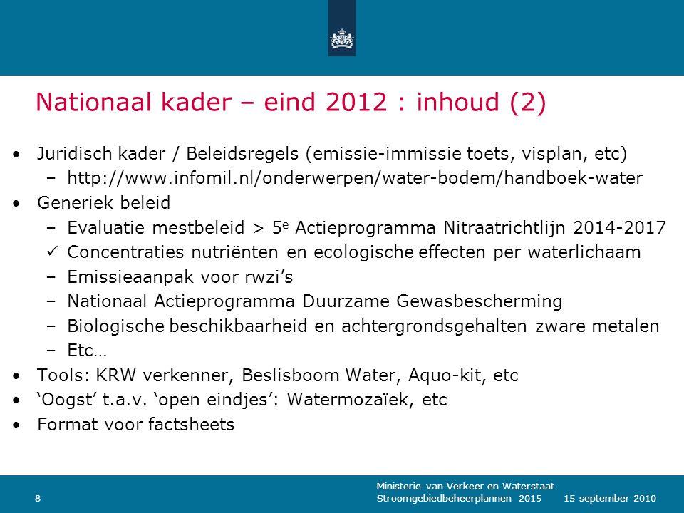 Ministerie van Verkeer en Waterstaat Stroomgebiedbeheerplannen 2015815 september 2010 Nationaal kader – eind 2012 : inhoud (2) Juridisch kader / Belei