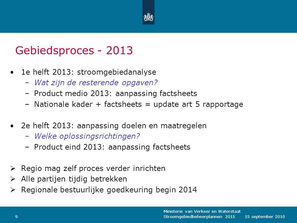 Ministerie van Verkeer en Waterstaat Stroomgebiedbeheerplannen 2015915 september 2010 Gebiedsproces - 2013 1e helft 2013: stroomgebiedanalyse –Wat zij
