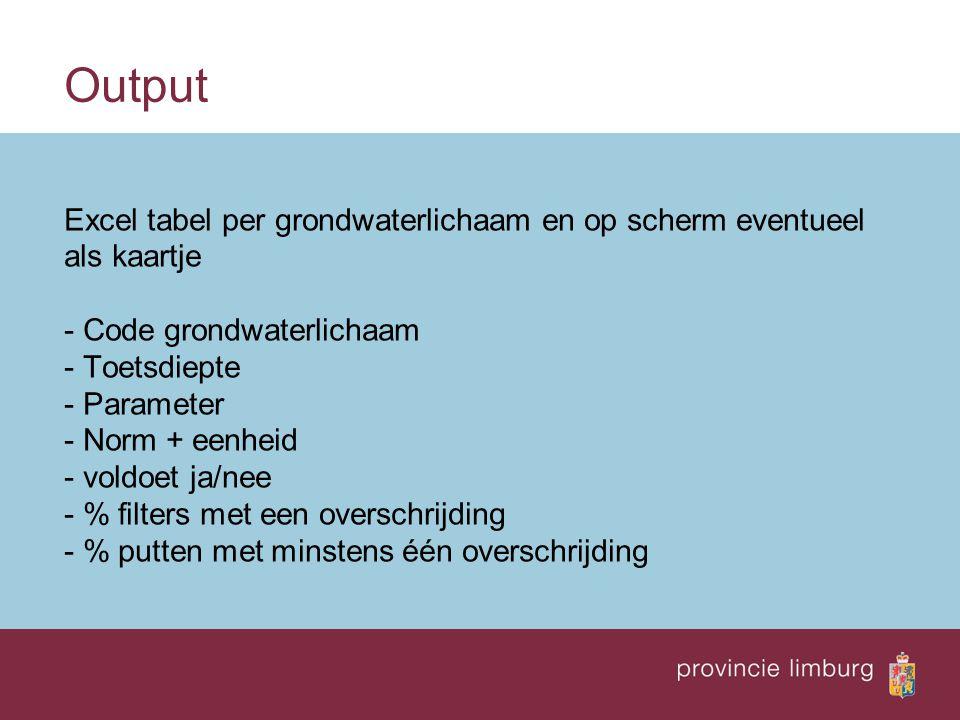 Output Excel tabel per grondwaterlichaam en op scherm eventueel als kaartje - Code grondwaterlichaam - Toetsdiepte - Parameter - Norm + eenheid - voldoet ja/nee - % filters met een overschrijding - % putten met minstens één overschrijding