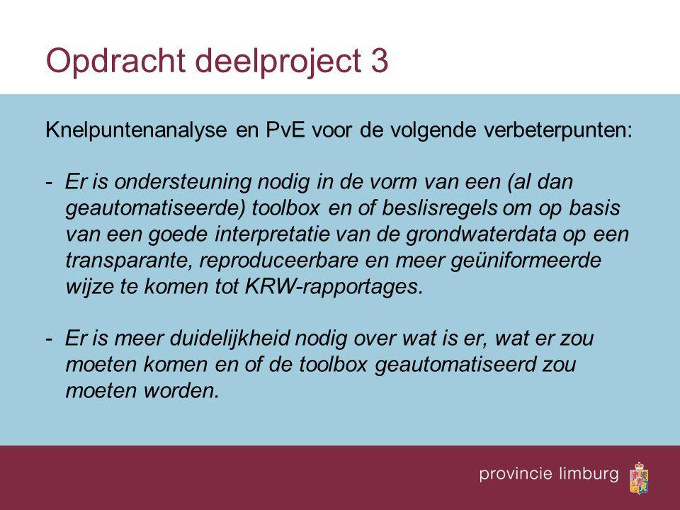 Opdracht deelproject 3 Knelpuntenanalyse en PvE voor de volgende verbeterpunten: - Er is ondersteuning nodig in de vorm van een (al dan geautomatiseerde) toolbox en of beslisregels om op basis van een goede interpretatie van de grondwaterdata op een transparante, reproduceerbare en meer geüniformeerde wijze te komen tot KRW-rapportages.