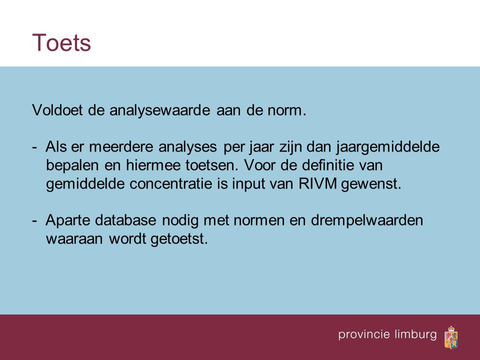 Output Excel tabel en op scherm eventueel als kaartje - input parameters - norm + eenheid - voldoet ja/nee - % van norm (>100% is overschrijding)