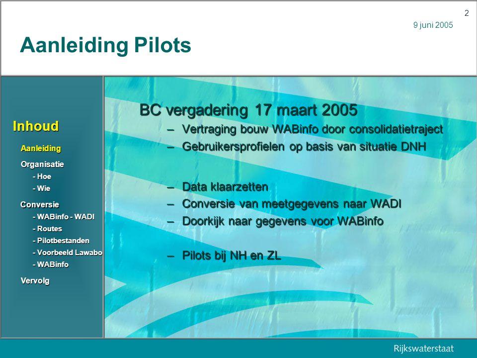 9 juni 2005 3 Organisatie hoe RWS ZL Gezamenlijk startoverleg RWS NH 29 april Iteratief Datasets bespreken Conversiemethode Data aanvullen Conversie testjes Conversie uitvoeren Conversie checken … Vervolgoverleggen In uitvoering Inhoud Aanleiding Organisatie Conversie Vervolg - Routes - Routes - Pilotbestanden - Pilotbestanden - Voorbeeld Lawabo - Voorbeeld Lawabo - WABinfo - WADI - WABinfo - WADI - Wie - Wie - Hoe - Hoe - WABinfo - WABinfo
