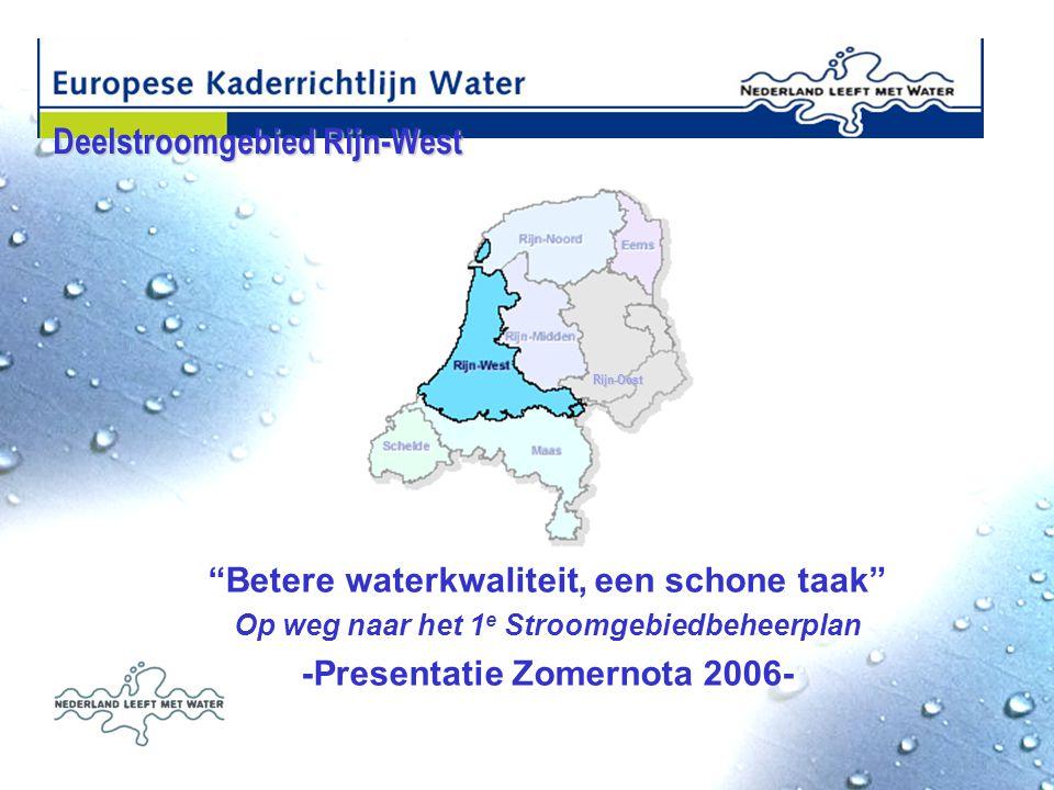 Deelstroomgebied Rijn-West Deelstroomgebied Rijn-West Rijn-Oost Betere waterkwaliteit, een schone taak Op weg naar het 1 e Stroomgebiedbeheerplan -Presentatie Zomernota 2006- Rijn-Oost