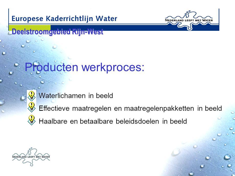 Producten werkproces: Waterlichamen in beeld Effectieve maatregelen en maatregelenpakketten in beeld Haalbare en betaalbare beleidsdoelen in beeld Deelstroomgebied Rijn-West Deelstroomgebied Rijn-West