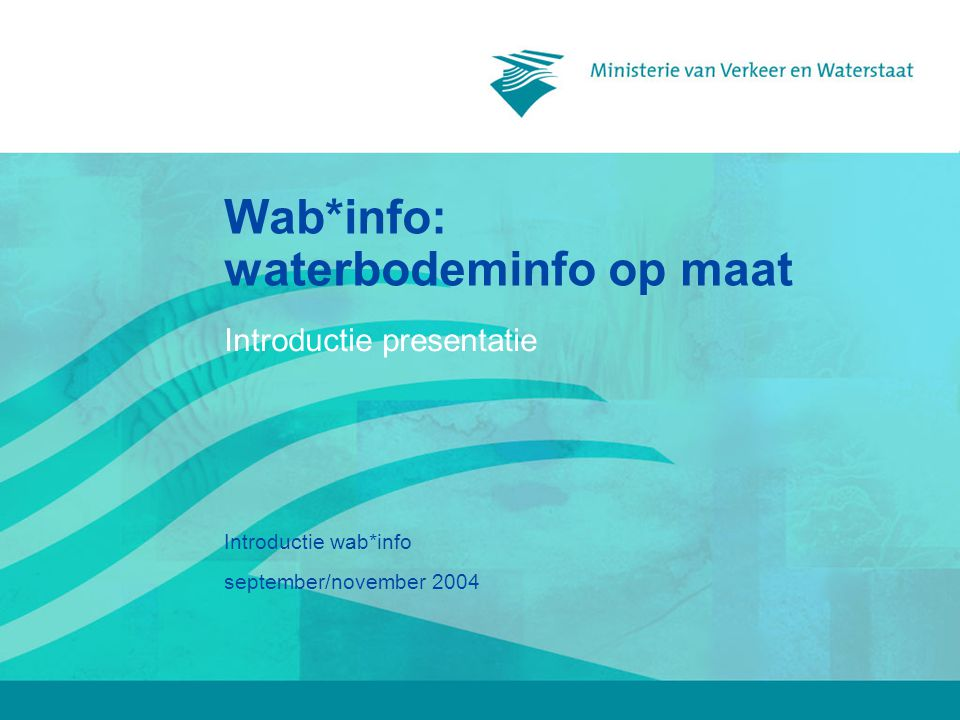 september/november 2004 Introductie wab*info Wab*info: waterbodeminfo op maat Introductie presentatie