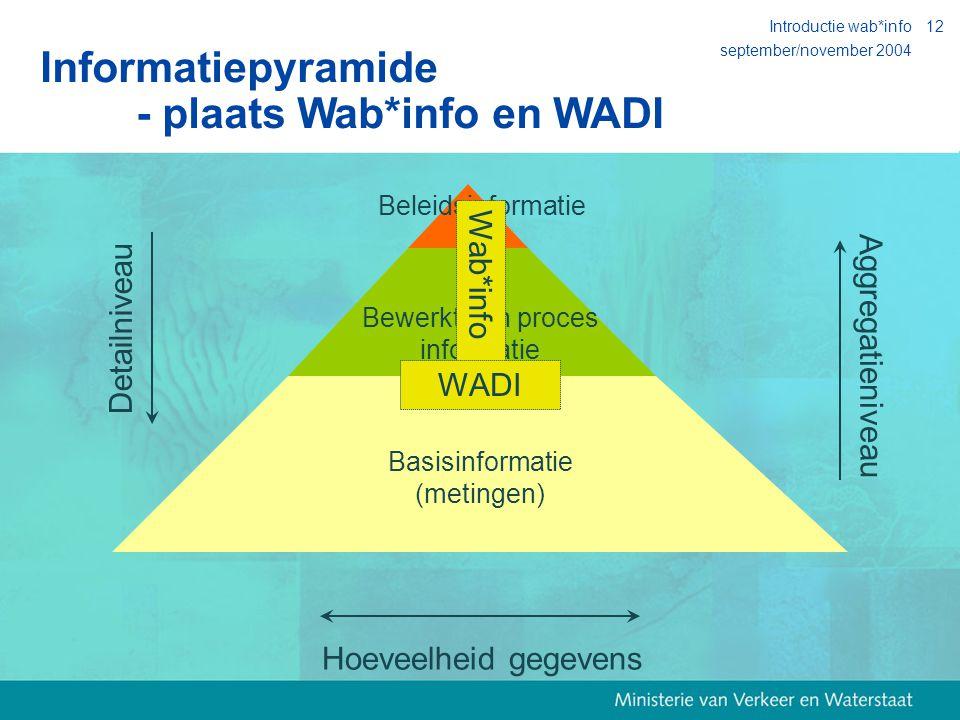 september/november 2004 Introductie wab*info12 Basisinformatie (metingen) Detailniveau Aggregatieniveau Bewerkte en proces informatie Beleidsinformatie Wab*info WADI Informatiepyramide - plaats Wab*info en WADI Hoeveelheid gegevens