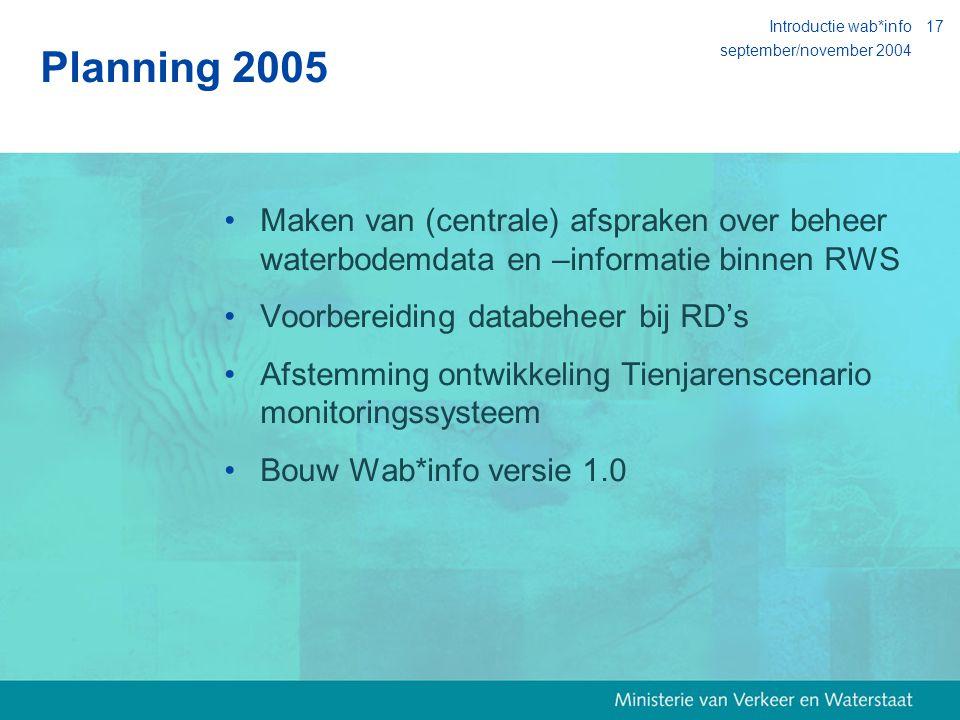 september/november 2004 Introductie wab*info17 Planning 2005 Maken van (centrale) afspraken over beheer waterbodemdata en –informatie binnen RWS Voorbereiding databeheer bij RD's Afstemming ontwikkeling Tienjarenscenario monitoringssysteem Bouw Wab*info versie 1.0