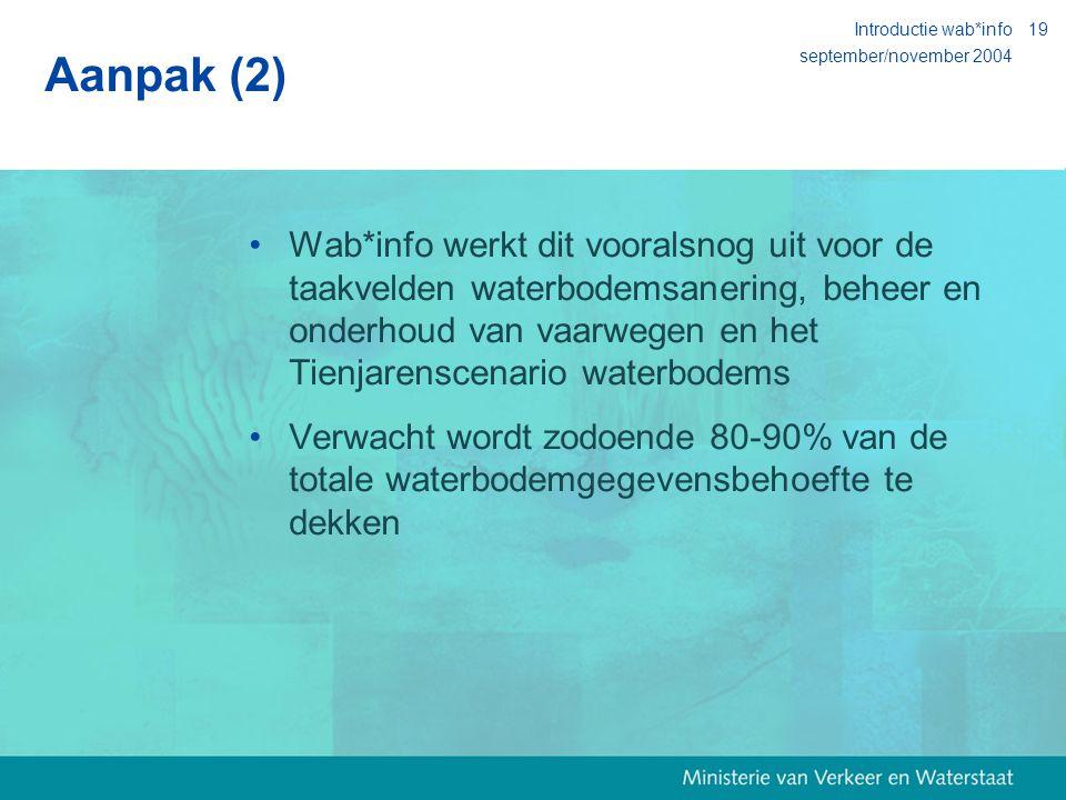 september/november 2004 Introductie wab*info19 Aanpak (2) Wab*info werkt dit vooralsnog uit voor de taakvelden waterbodemsanering, beheer en onderhoud van vaarwegen en het Tienjarenscenario waterbodems Verwacht wordt zodoende 80-90% van de totale waterbodemgegevensbehoefte te dekken