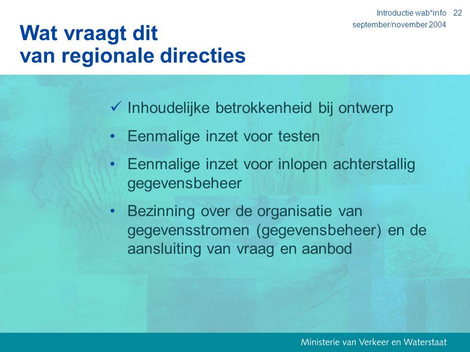 september/november 2004 Introductie wab*info22 Wat vraagt dit van regionale directies Inhoudelijke betrokkenheid bij ontwerp Eenmalige inzet voor testen Eenmalige inzet voor inlopen achterstallig gegevensbeheer Bezinning over de organisatie van gegevensstromen (gegevensbeheer) en de aansluiting van vraag en aanbod