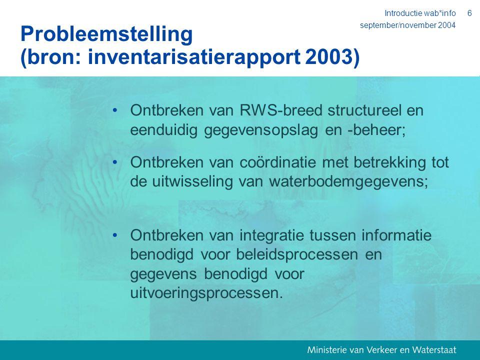 september/november 2004 Introductie wab*info6 Probleemstelling (bron: inventarisatierapport 2003) Ontbreken van RWS-breed structureel en eenduidig gegevensopslag en -beheer; Ontbreken van coördinatie met betrekking tot de uitwisseling van waterbodemgegevens; Ontbreken van integratie tussen informatie benodigd voor beleidsprocessen en gegevens benodigd voor uitvoeringsprocessen.