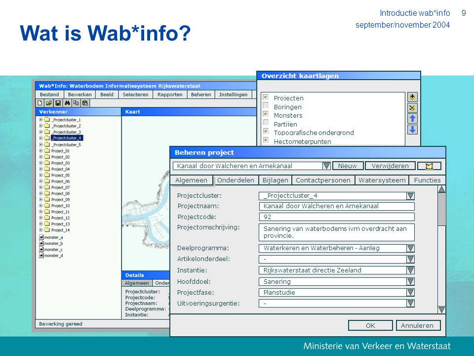 september/november 2004 Introductie wab*info20 Organisatie Goedkeuring DT-RWS HK is (beoogd) financier Begeleidingscommissie RD's/SD's (test)Sessies met medewerkers RD's Projectteam incl.