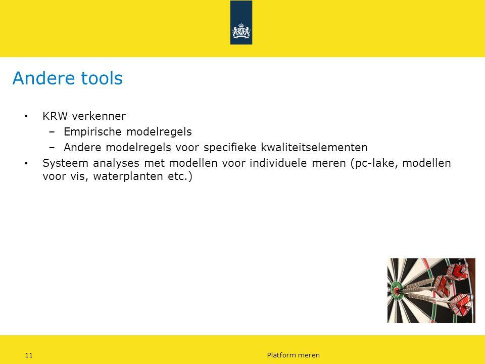 11Platform meren Andere tools KRW verkenner –Empirische modelregels –Andere modelregels voor specifieke kwaliteitselementen Systeem analyses met model