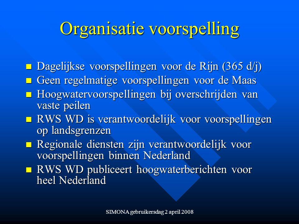 Organisatie voorspelling n Dagelijkse voorspellingen voor de Rijn (365 d/j) n Geen regelmatige voorspellingen voor de Maas n Hoogwatervoorspellingen b