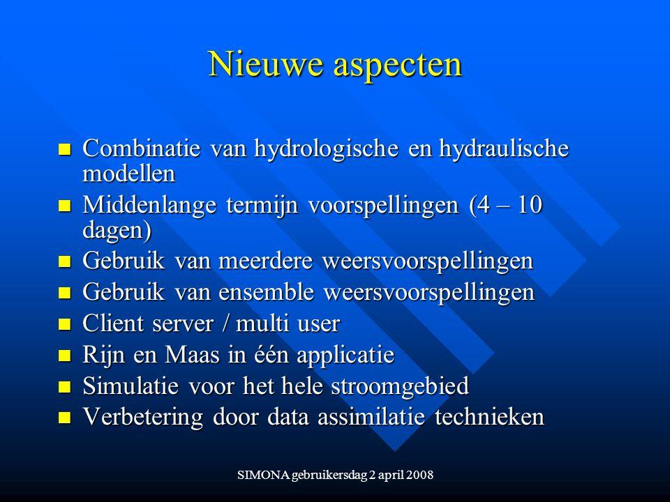 SIMONA gebruikersdag 2 april 2008 Nieuwe aspecten n Combinatie van hydrologische en hydraulische modellen n Middenlange termijn voorspellingen (4 – 10
