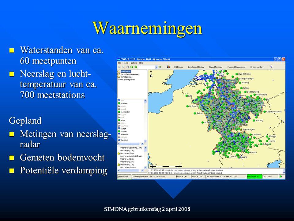 SIMONA gebruikersdag 2 april 2008 Waarnemingen n Waterstanden van ca. 60 meetpunten n Neerslag en lucht- temperatuur van ca. 700 meetstations Gepland