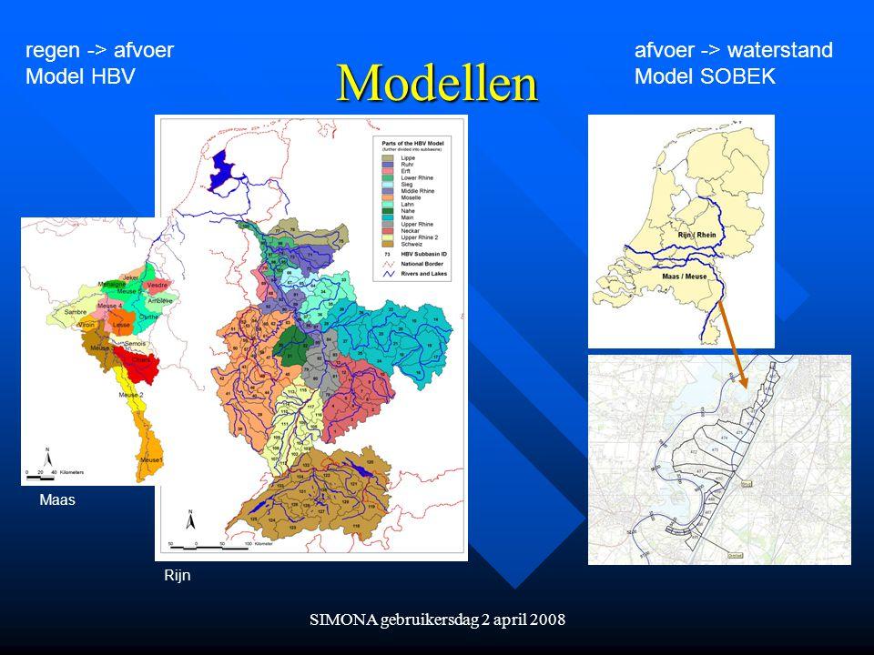 SIMONA gebruikersdag 2 april 2008 Modellen regen -> afvoer Model HBV afvoer -> waterstand Model SOBEK Maas Rijn