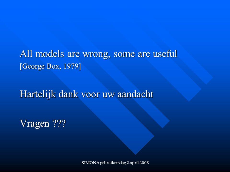 SIMONA gebruikersdag 2 april 2008 All models are wrong, some are useful [George Box, 1979] Hartelijk dank voor uw aandacht Vragen ???