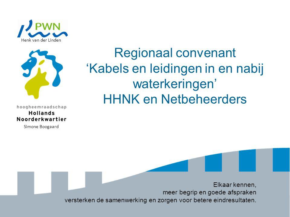 Regionaal convenant 'Kabels en leidingen in en nabij waterkeringen' HHNK en Netbeheerders Elkaar kennen, meer begrip en goede afspraken versterken de samenwerking en zorgen voor betere eindresultaten.