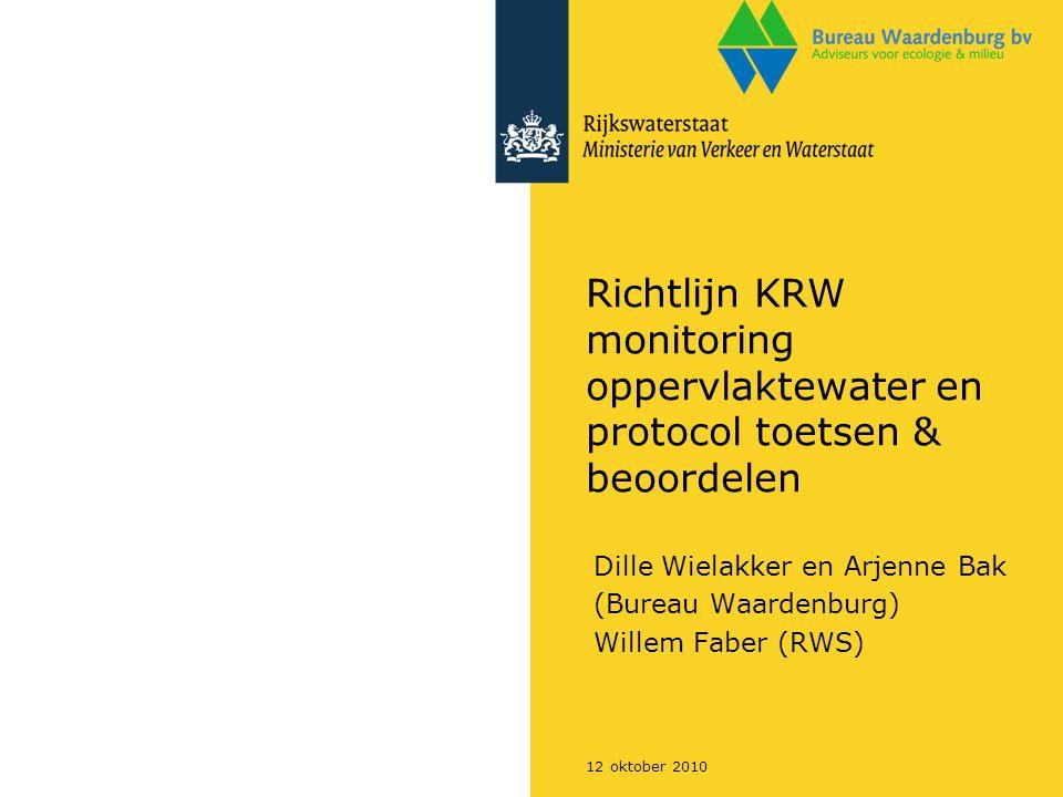 12 oktober 2010 Richtlijn KRW monitoring oppervlaktewater en protocol toetsen & beoordelen Dille Wielakker en Arjenne Bak (Bureau Waardenburg) Willem