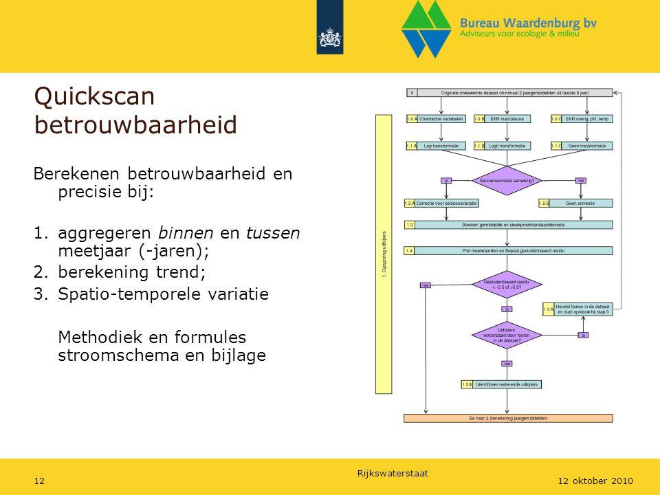 Rijkswaterstaat 1212 oktober 2010 Quickscan betrouwbaarheid Berekenen betrouwbaarheid en precisie bij: 1.aggregeren binnen en tussen meetjaar (-jaren)