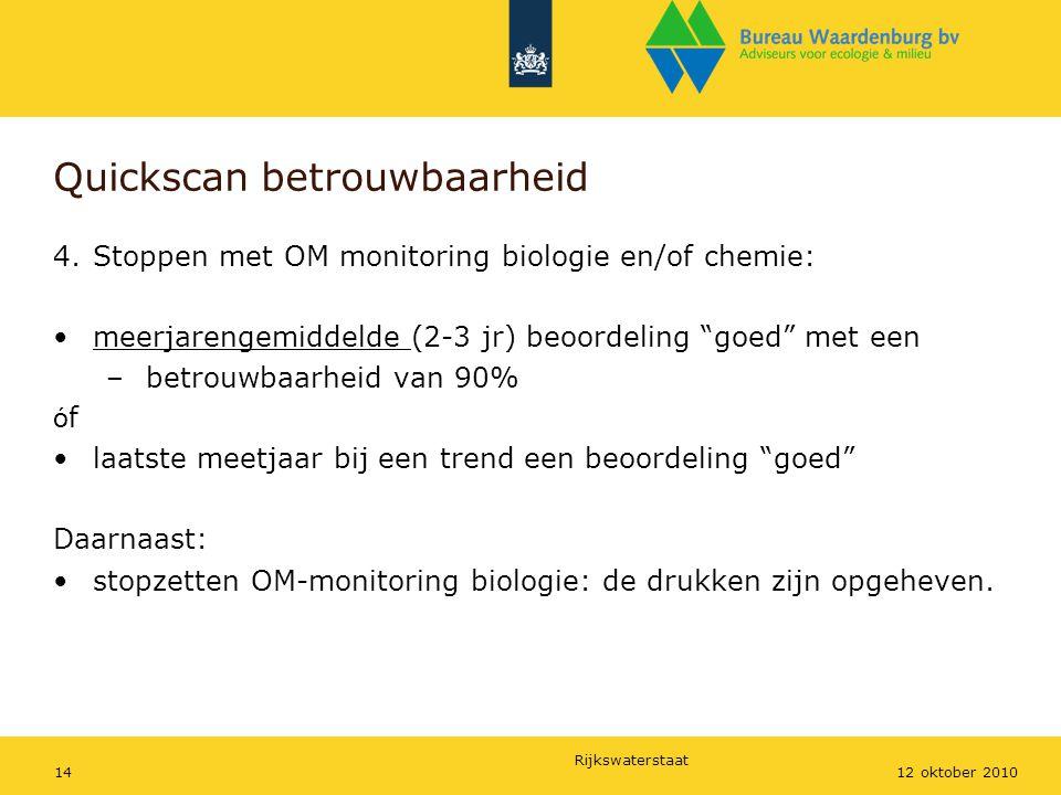 Rijkswaterstaat 1412 oktober 2010 Quickscan betrouwbaarheid 4.Stoppen met OM monitoring biologie en/of chemie: meerjarengemiddelde (2-3 jr) beoordelin