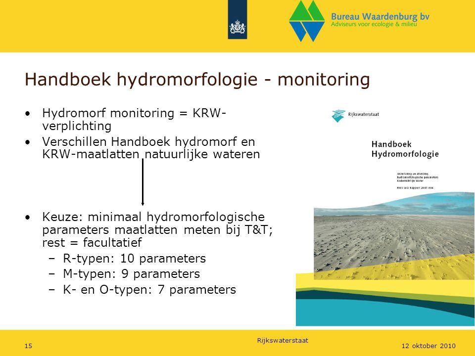 Rijkswaterstaat 1512 oktober 2010 Handboek hydromorfologie - monitoring Hydromorf monitoring = KRW- verplichting Verschillen Handboek hydromorf en KRW