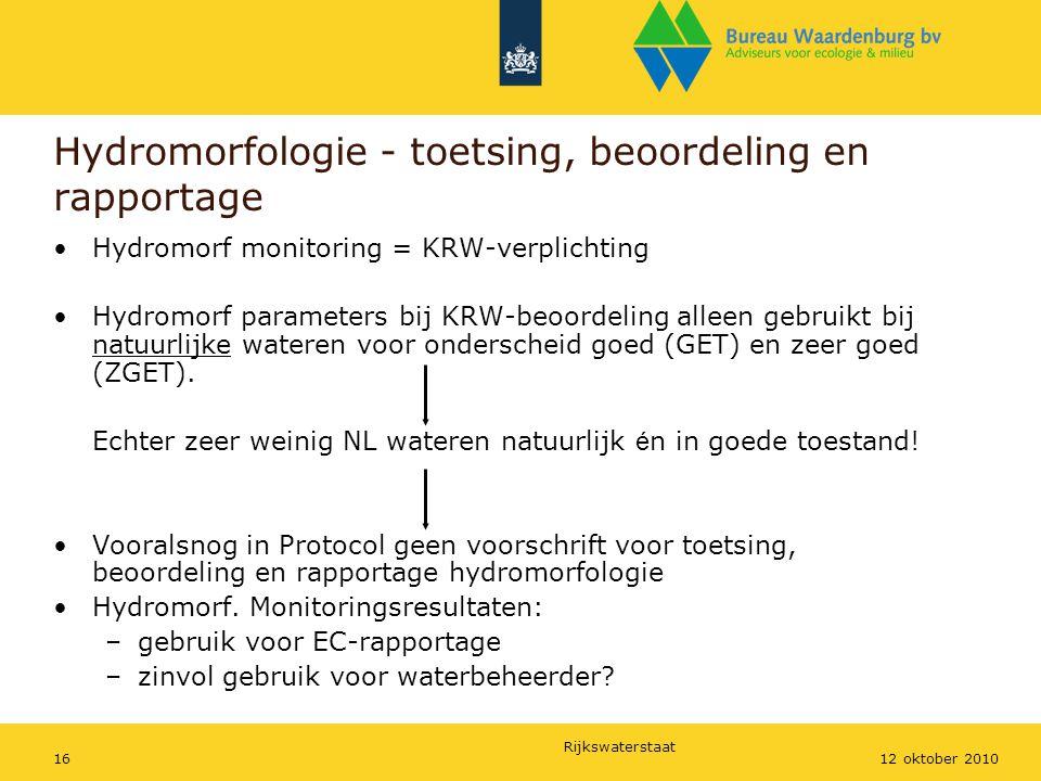 Rijkswaterstaat 1612 oktober 2010 Hydromorfologie - toetsing, beoordeling en rapportage Hydromorf monitoring = KRW-verplichting Hydromorf parameters b