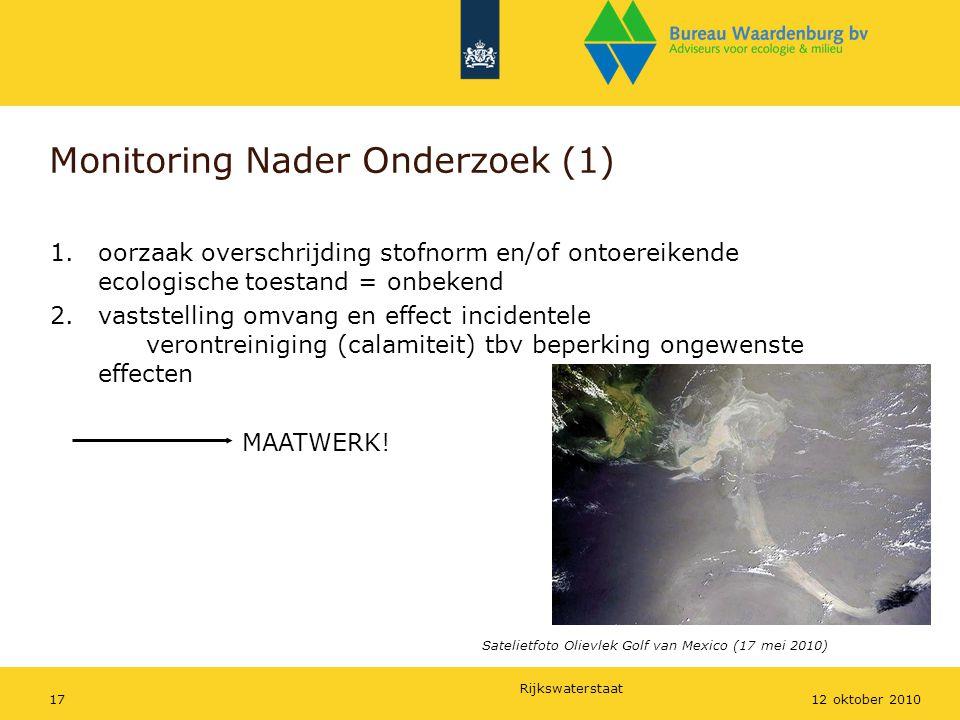 Rijkswaterstaat 1712 oktober 2010 Monitoring Nader Onderzoek (1) 1.oorzaak overschrijding stofnorm en/of ontoereikende ecologische toestand = onbekend