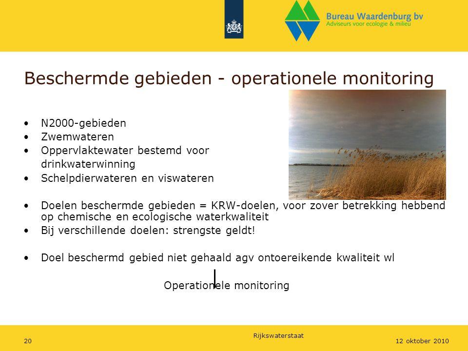 Rijkswaterstaat 2012 oktober 2010 Beschermde gebieden - operationele monitoring N2000-gebieden Zwemwateren Oppervlaktewater bestemd voor drinkwaterwin