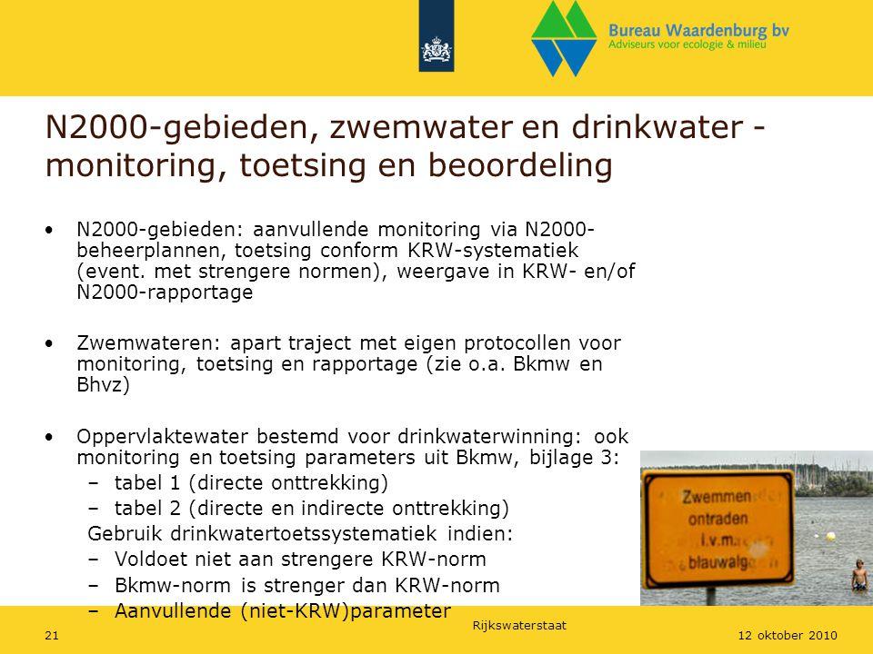 Rijkswaterstaat 2112 oktober 2010 N2000-gebieden, zwemwater en drinkwater - monitoring, toetsing en beoordeling N2000-gebieden: aanvullende monitoring