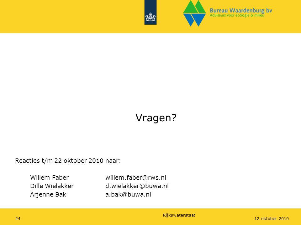 Rijkswaterstaat 2412 oktober 2010 Vragen? Reacties t/m 22 oktober 2010 naar: Willem Faberwillem.faber@rws.nl Dille Wielakkerd.wielakker@buwa.nl Arjenn