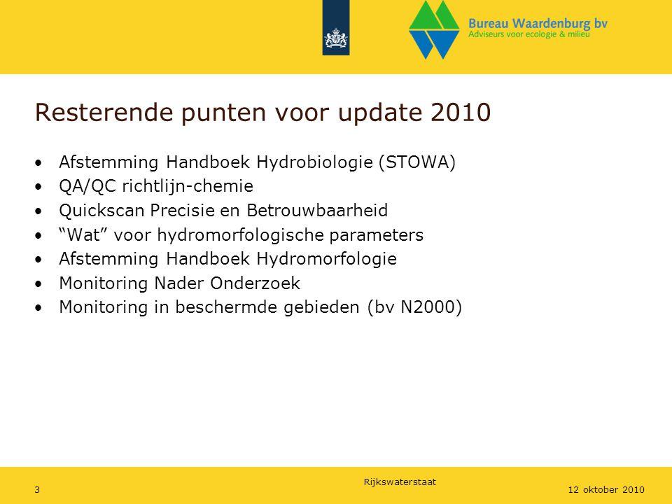 Rijkswaterstaat 312 oktober 2010 Resterende punten voor update 2010 Afstemming Handboek Hydrobiologie (STOWA) QA/QC richtlijn-chemie Quickscan Precisi