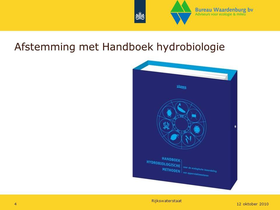 Rijkswaterstaat 412 oktober 2010 Afstemming met Handboek hydrobiologie