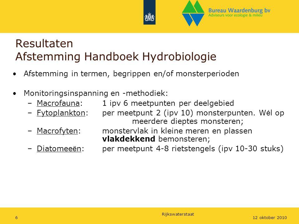 Rijkswaterstaat 612 oktober 2010 Resultaten Afstemming Handboek Hydrobiologie Afstemming in termen, begrippen en/of monsterperioden Monitoringsinspann